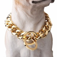 Gold Stainless Steel Dog Choker Chain Curb Cuban Chain Dog Training Collar Heavy Metal Pet Collars For Medium Large Dogs Pitbull