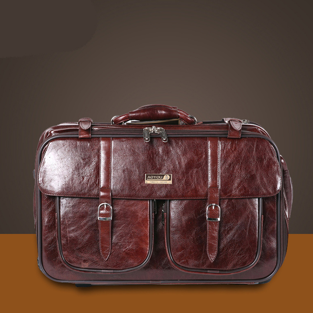 LeTrend Men business Leather Travel Bag Rolling Luggage Spinner Suitcases Wheel 20 inch Carry On Trolley Men's Handbags