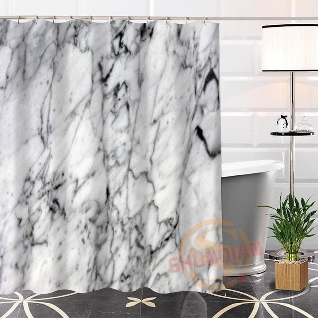 curtains arrival polyester item modern waterproof custom shower bath fabric bathroom popular hot marble new curtain