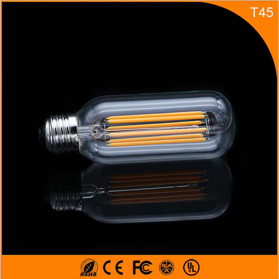 50PCS 6W E27 Led Bulb, T45 LED COB Vintage Edison Light ,Filament Light Retro Bulb AC 220V e27 led edison bulb cob 2w 3w 4w 6w vintage edison led filament light ac 220v t110 t185 t300 chirstmas retro led light bulb