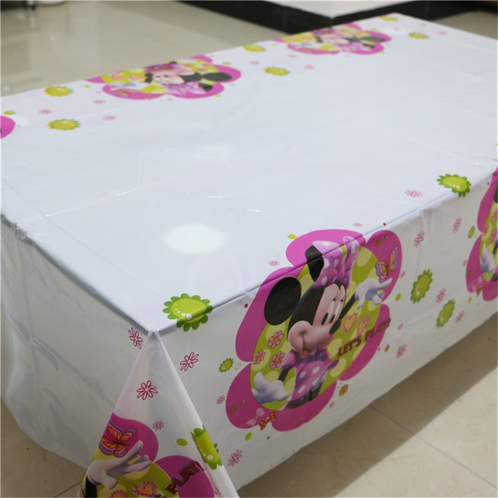 1pcs Happy Birthday Party Minnie Mouse Baby Shower Tablecloth Cartoon Theme Kids FavorsTablecover Decoration Supplies 108*180cm