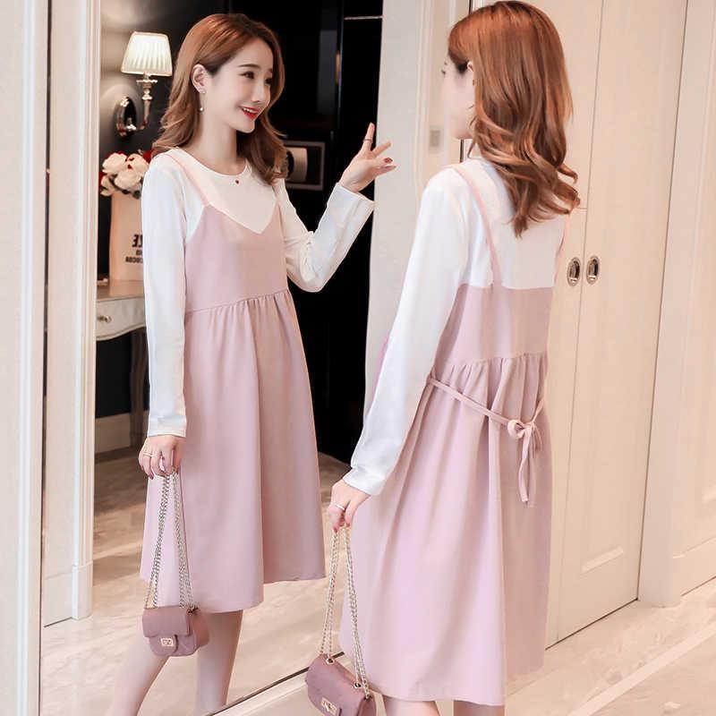 dbfeb6cdb7dc 9057 # сладкий пэчворк хлопок платье для беременных Галстуки талии  свободная одежда ...