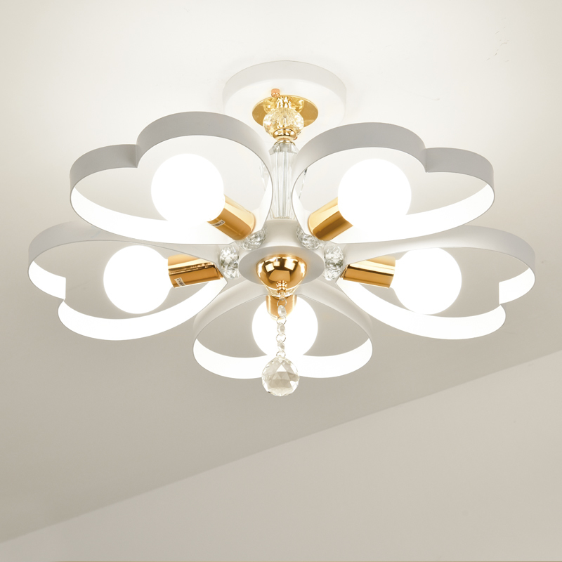 Us 238 0 Hotel Lamps 5 Heads Heart Shaped Bedroom Ceiling Lamp Crystal Hanging Atmosphere Living Room Study Ceiling Lights Za9194 In Ceiling Lights