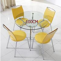Modern Simple Tempered Glass Negotiating Table And Chair Combination