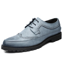 купить Luxury Men Brogue Leather Oxfords Wedding Shoes Office Business Formal Men Dress Shoes Flats Leather Shoes дешево