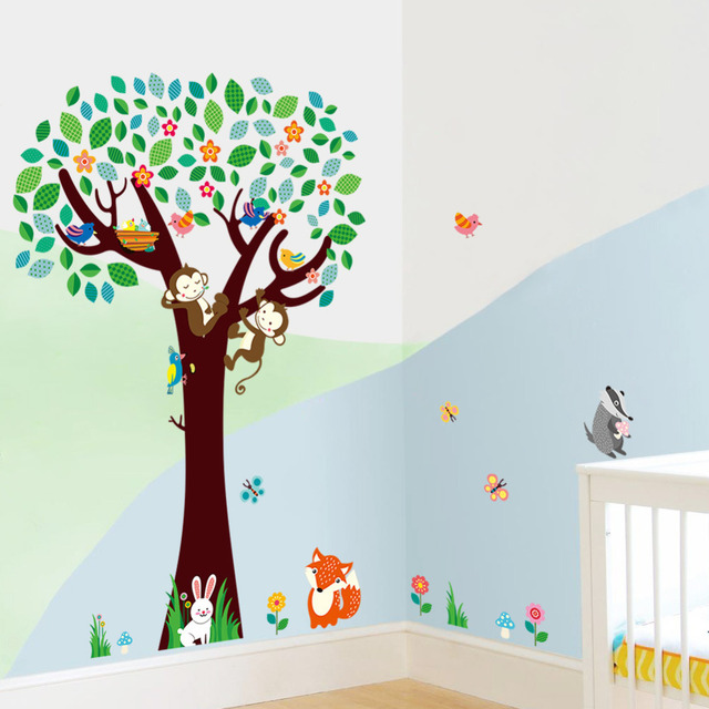 nursery wall decor stickers birds monkeys tree wall