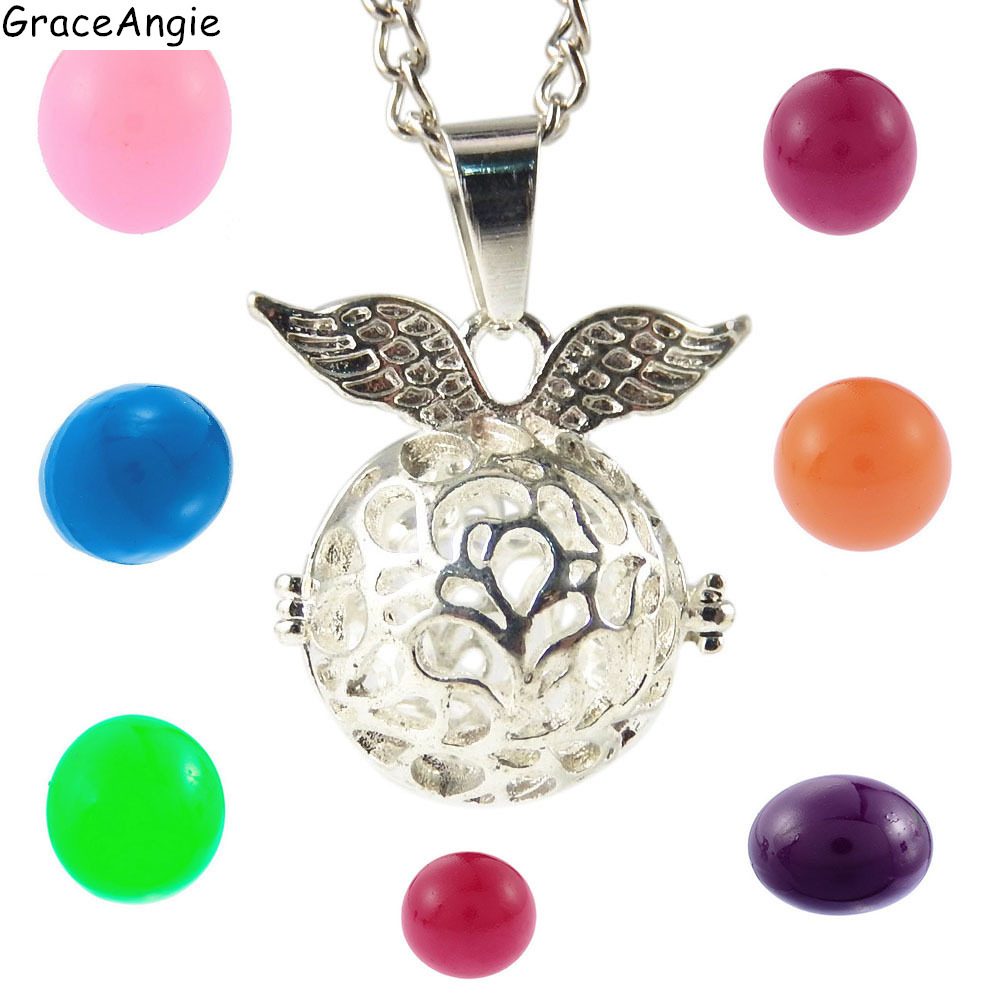 Graceangie Wings Locket Pregnancy Bola Hollow Cage Filigree Ball Box Copper Ball Pendant Essetial Oil Diffuser Necklace 39609