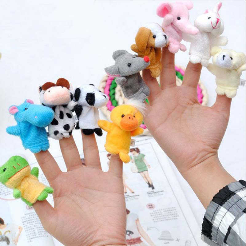 10pcs/lot Animals Finger Puppets Toy Dolls Cute Hand Puppet Kids Toys for Children Baby 0-12 24 Months Christmas Gifts Fun Cute
