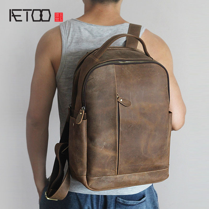 Retro Crazy Horse Leather backpack men real Leather Men's Shoulder Bag Leisure Travel Backpack new total english starter workbook with key cd