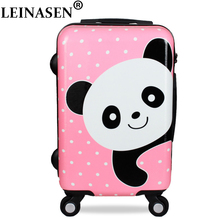 LEINASEN Cute Cartoon Children Rolling Luggage Spinner Suitcase Wheels Students Cabin Trolley 20/24 inch Bear pattern Travel Bag letrend korean trolley cute pink suitcase wheels cosmetic case women vintage leather travel bag retro password box cabin luggage