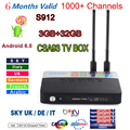 Nova S912 CSA93 Android 6.0 CAIXA de TV 2/16G 3/32 GB Smart tv 6 meses Árabe Francês REINO UNIDO portugal Itália europa servidor 1000 + Canais de iptv