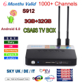 Nueva CSA93 Android 6.0 TV BOX S912 2/16G 3/32 GB Smart tv 6 mes Árabe Francés REINO UNIDO Italia portugal europa server 1000 + Canales de iptv