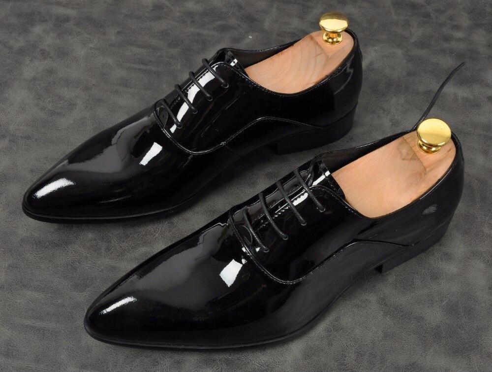Para Genuino Pie En Pic De Size38 Zapatos Lace up Oficina Hombres Cuero 44 1 Brillante As Del Vestido Moda Hombre Clásico Dedo Punta Plana Oxford Formales OqCSdw