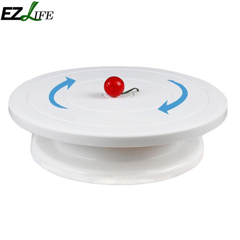 Plastic Cake Turntable Rotating Cake Decorating Turntable Anti-skid Round Cake Stand Cake Rotary Table 20cm CHW4367