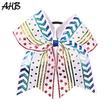 AHB 7 Large Cheerleading Hair Bows for Girls Cheer with Rubber Band Handmade Printed Bow Knot Kids Accessories
