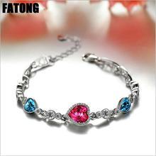 925 sterling silver heart-shaped natural crystal bracelet female Korean fashion jewelry J0199