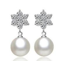 2015 new arrival free shipping fashion round pearl zircon stone women 925 sterling silver earrings jewelry wholesaler