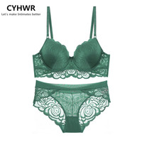 2017 CYHWR Spring And Summer New Sexy Lace Three Row Buckle Thin Cup Girl Bra Set