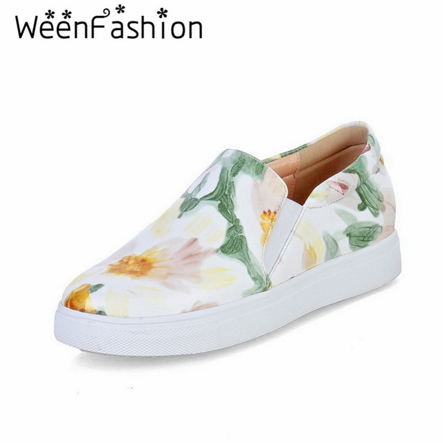 WeenFashion Womens Casual Flats Shoes Ladies Creepers Platform Flower Print Shoes Student Girl Footwear Loafers Espadrilles