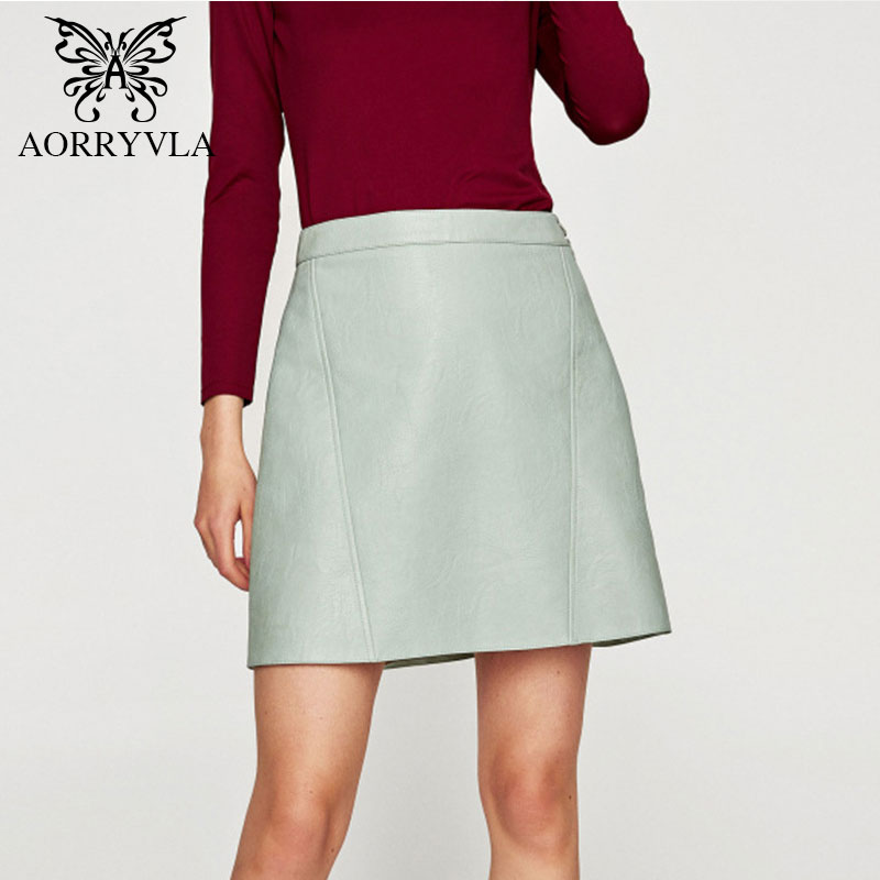 AORRYVLA 2018 Summer New Fashion Ladies Solid Color Waist Button Side Zipper Skirt A Word Colors Mini PU Skirt AZ-333