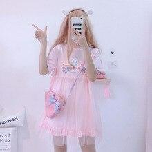 夏ロリータドレス2020日本かわいいウサギかわいいアニメ半袖ピンクホワイトドレスカジュアルtシャツドレス女性服