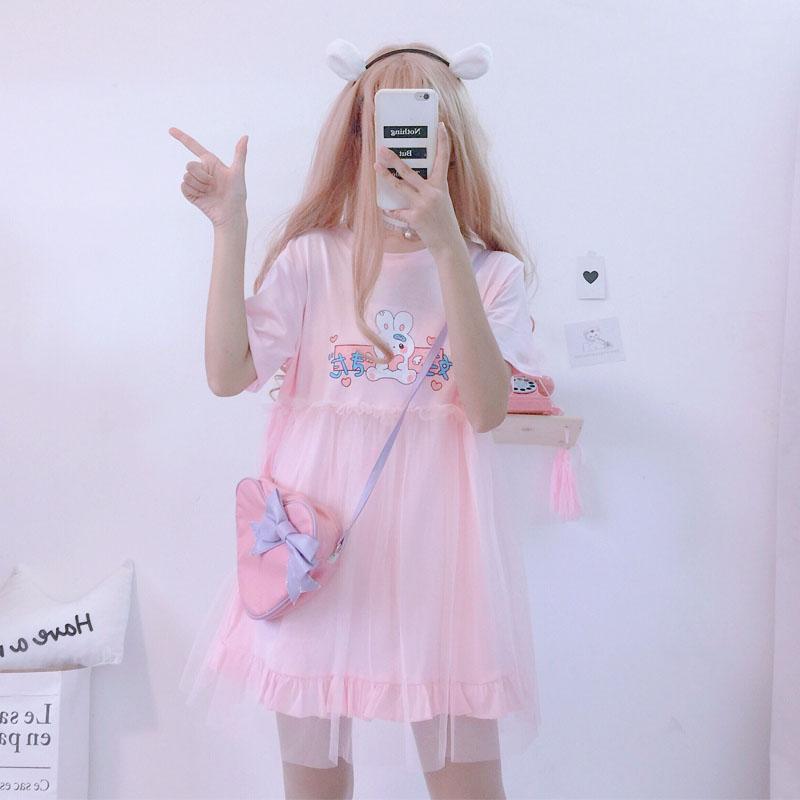Summer Lolita Dresses 2020 Japanese Kawaii Rabbit Cute Anime Short Sleeve Pink White Dress Casual T Shirt Dress Female Clothing