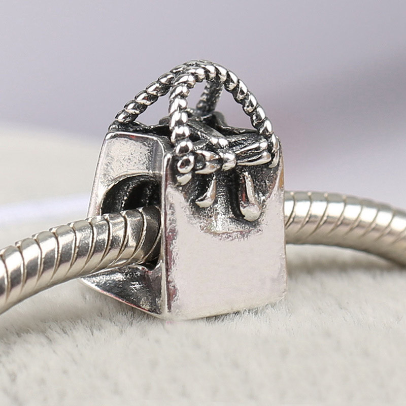 925 Sterling Silver Bead Charm Vintage Cute Shopping Handbag Bag Beads Fit Pandora Bracelet Bangle DIY Jewelry Original