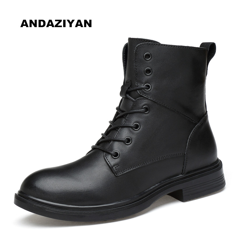 High helper boots men Big size male boots Leather boots Black men's shoes autumn and winter style Large size shoes
