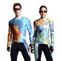 2017 Nouvelle Arrivée Art Designer À Manches Longues Vélo Vélo Tissu Séchage rapide Homme Femme Équitation Costume Outwear Vélo Jersey Ensemble 2017