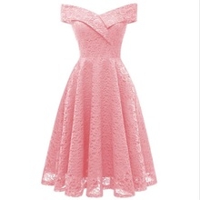 Vintage Floral Lace Dress Women Sleeveless One Word-Neck Elegant Party Sexy Dresses Retro Summer Robe Big Swing