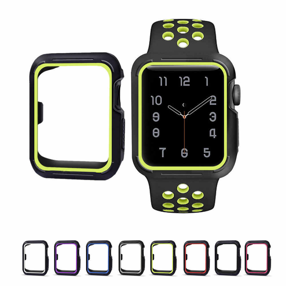 Productos lácteos sonido Desplazamiento  silicone cover for apple watch case 42mm 38mm Nike sport band strap full  frame rubber protector case for iwatch 2/1 series| | - AliExpress