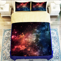 Hipster Galaxy 3D Bedding Set Universe Outer Space Themed Galaxy Print Nebula Aurora Duvet Cover Shooting