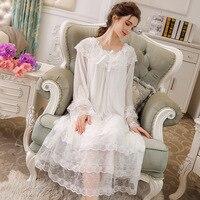 Women's Long Sleeve Vintage Nightgown Victorian Nightdress Sleepwear Loungewear Lace Mesh Sleepwear
