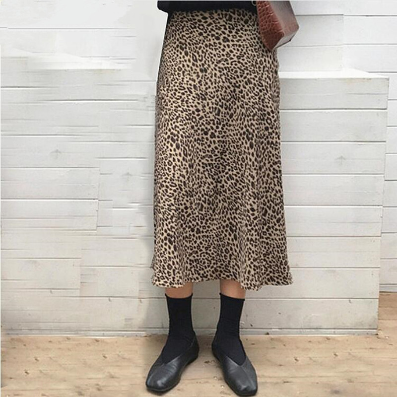 Summer Leopard Print Skirts Women High Waist Sexy Long Skirts 2019 New Harajuku Streetwear Thin Section A-line Skirt Faldas Jupe