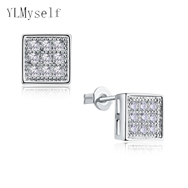5 Mm Diameter Square Shape Stud Earring Micro Setting With 1 Bright Cubic Zirconia Crystal