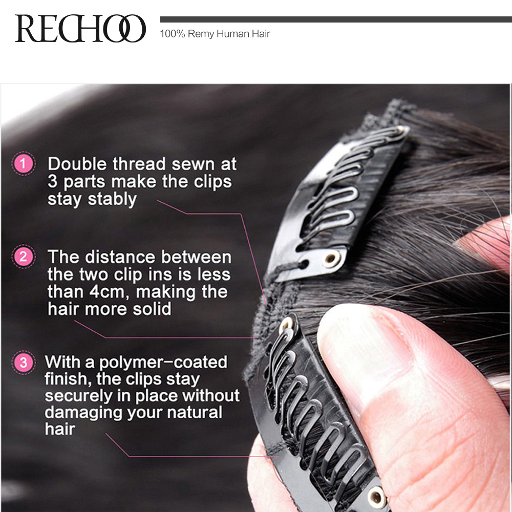 Aliexpress buy rechoo straight brazilian non remy hair 1b aliexpress buy rechoo straight brazilian non remy hair 1b natural black color 100 human hair clip in extensions 100 gram 16 18 20 inches from pmusecretfo Images