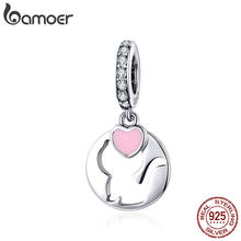 BAMOER Kitty Cat Charm Authentic 925 Sterling Silver Enamel Heart Pendant Fit Original Bracelet Accessories Jewelry SCC1140(China)