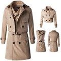 Мужские Пальто Limited Бросился Стандартный Повседневная Твердые Длинные Пальто Мужчины 2016 Из Двух Частей Костюм Пальто Длинный Двубортный
