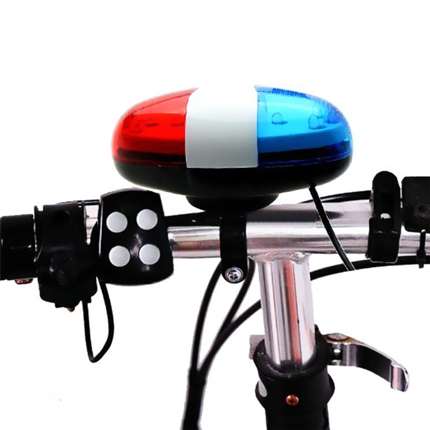 Bicycle Bell Loud 6 LED 4 Sounds Horn Bells Ring Light Trumpet For Bike Road Cycling Handlebar Lights Safety Warning Torch M20