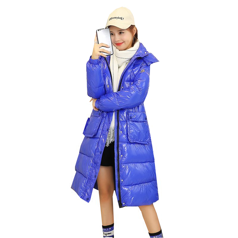 Fashion 2019 Winter New Glossy Long Duck   Down   Jacket Women Hooded Parka Korean Thick Warm   Down     Coat   Casual Slim Female Overcoat