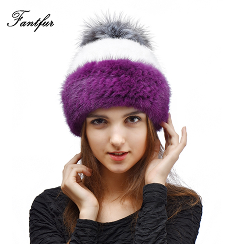Winter Women Real Geniune Mink Fur Hat with Fox Ball Casual 15 Colours Women Fashion Knitted Fur Pom Pom Cap Peaked Hat Beanies skullies beanies mink mink wool hat hat lady warm winter knight peaked cap cap peaked cap