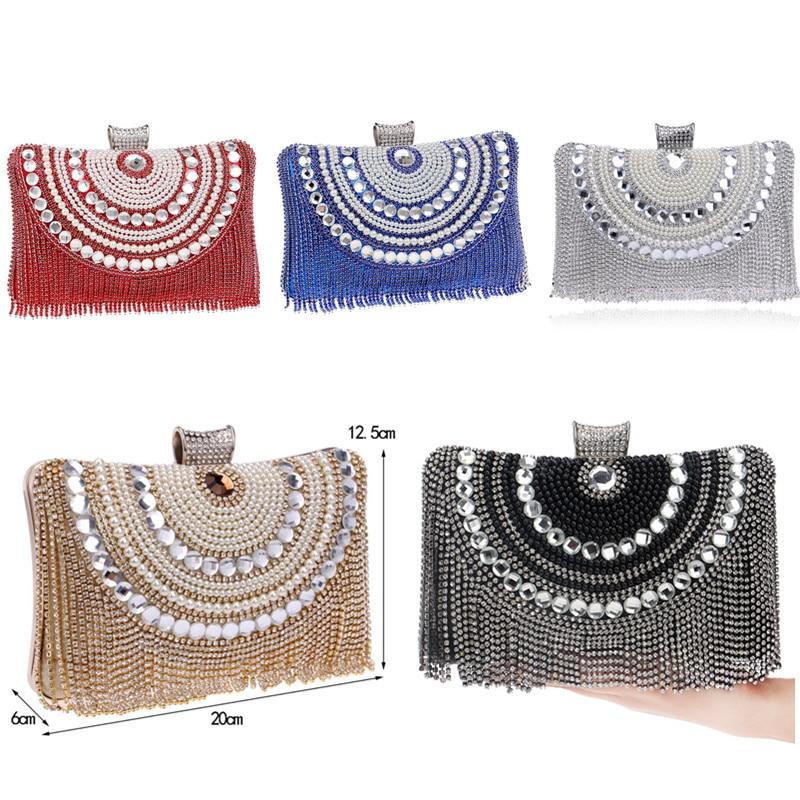 Diamantes de imitación de la borla Embrague Diamantes Con cuentas de - Bolsos - foto 2