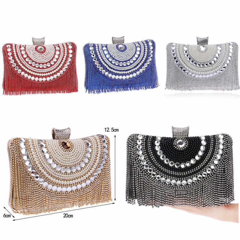 Strass borla embreagem diamantes frisado metal sacos de noite corrente ombro mensageiro bolsa sacos de noite para o casamento