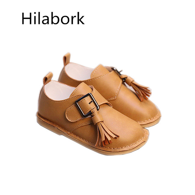 2017 spring new children's shoes non-slip ultra-fiber leather shoes fashion HOOk & LOOP tassels boys and girls casual shoes A218