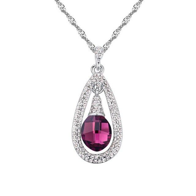 Сделано с Swarovski Element Водослива Подвески Подвеска Цепи Ожерелье для Женщин Кристалл с Swarovski Femininos Колье Ювелирные Изделия