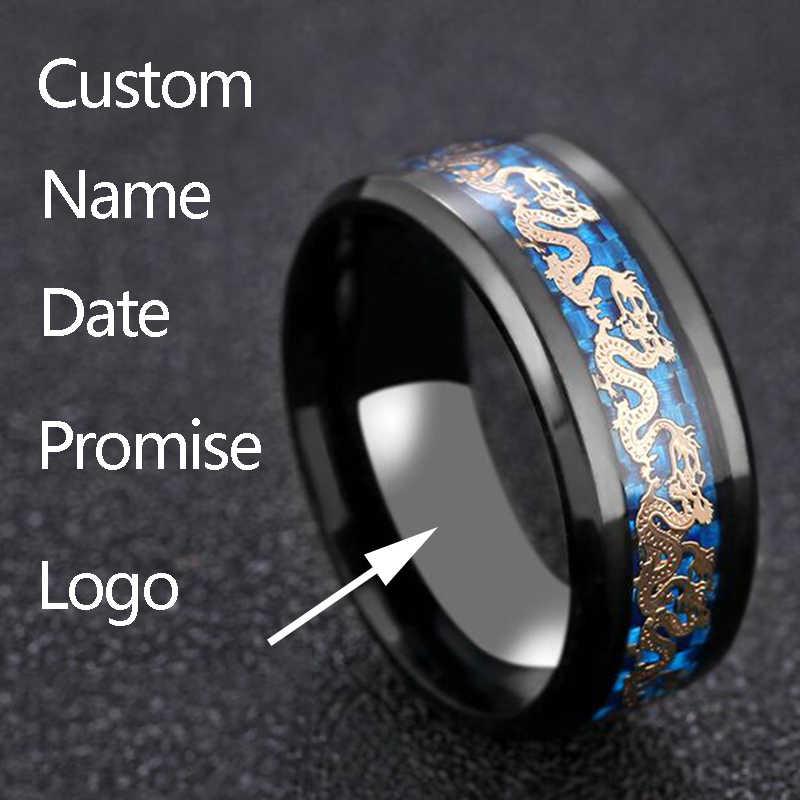 ELSEMODE Titanium Blue Steel Preto Poderoso Dragão Fibra De Carbono Mens Legal Amuleto Anéis da Faixa Do Casamento Anel Masculino Presente Da Jóia