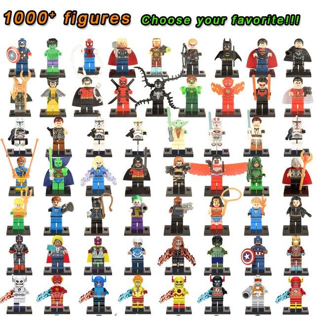 Super Heróis Figuras Marvel Capitão América Hulk Homem De Ferro Do Homem Aranha LEGOINGLYS Blocos de Construção de Mini Tijolos Brinquedos Para Crianças