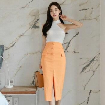 Nueva llegada conjunto de 2 piezas dulce elegante blanco Camiseta de punto sexy y falda de lápiz delgada moda estilo de trabajo de alta calidad las mujeres de