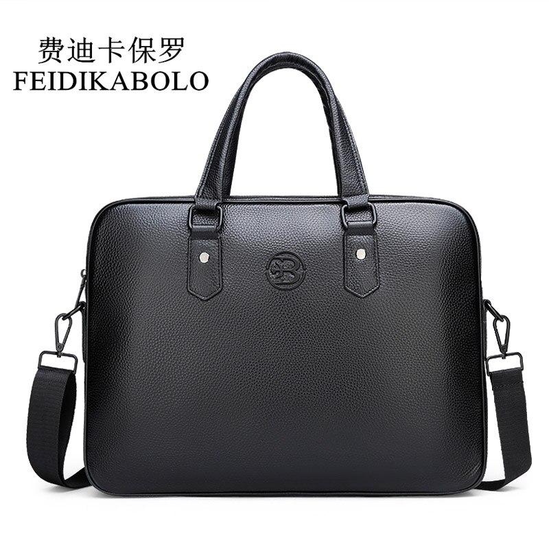 FEIDIKABOLO Genuine Leather Handbags Famous Brand Business Men Briefcase Bag Cow Leather Laptop Bag Fashion Man Bag Shoulder Bag