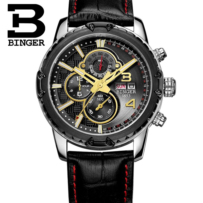 Genuine Switzerland BINGER brand Men sapphire military leather strap steel watch waterproof calendar conquer luminous stopwatch genuine switzerland binger brand men automatic mechanical luminous calendar waterproof sports chronograph military gold watch